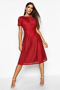 Boutique Full Skirted Prom Midi Dress