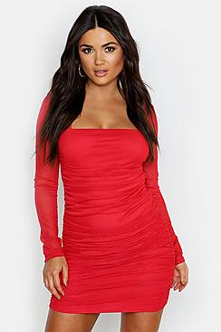 Square Neck Ruched Mesh Bodycon Dress