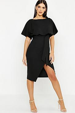 Se  Slash Neck Tie Waist Midi Dress ved Boohoo.com