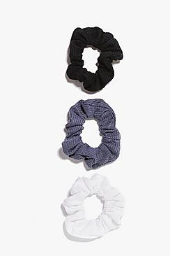 3 Pack Textured Scrunchies