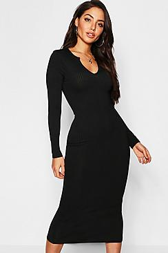 Jumbo Rib Notch Neck Midaxi Dress
