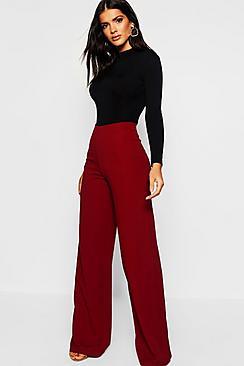 High Waist Basic Crepe Wide Leg Trousers