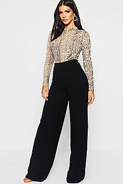 High Waist Basic Crepe Wide Leg Trousers