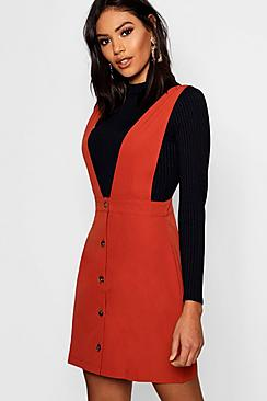 Plunge Front Button Pinafore Dress
