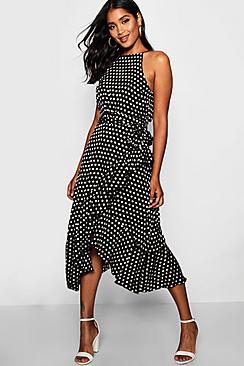 Satin Polka Dot Frill Detail Midi Dress