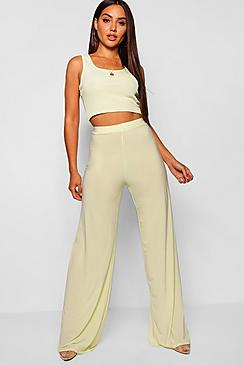High Waist Slinky Wide Leg Trousers