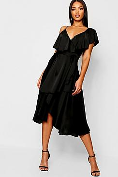 Satin Ruffle Wrap Detail Skater Dress