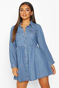 Se  Long Sleeve Denim Shirt Dress ved Boohoo.com