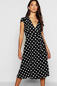 Boutique Polka Dot Wrap Dress