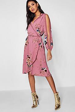 Boutique  Floral Split Sleeve Wrap Dress