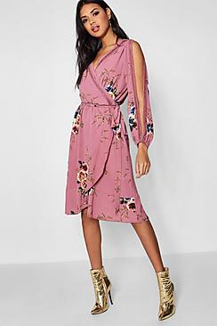boohoo Boutique  Floral Split Sleeve Wrap Dress