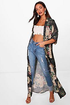 Floral Print Maxi Kimono