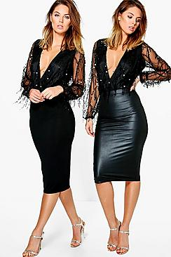 2 Pack Leather Look And Jersey Midi Skirt