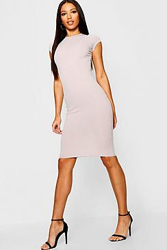 Se  Cap Sleeved Ribbed Bodycon Dress ved Boohoo.com
