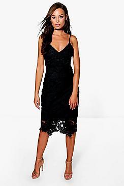 Boutique Crochet Lace Strappy Midi Dress