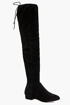 boohoo Flat Tie Back Thigh High Boots