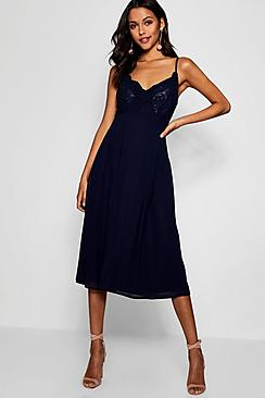 Crochet Lace Strappy Chiffon Midi Bridesmaid Dress