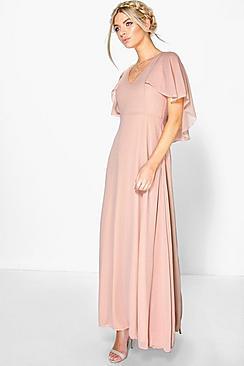 Se  Chiffon Cape Sleeve Maxi Bridesmaid Dress ved Boohoo.com