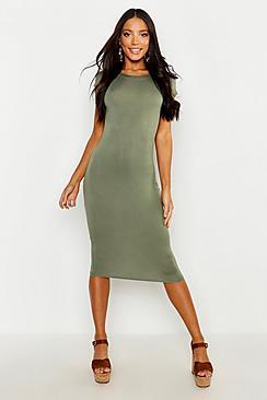 Se  Cap Sleeve Jersey Bodycon Midi Dress ved Boohoo.com