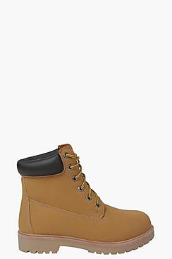 Padded Cuff Chunky Hiker Boots