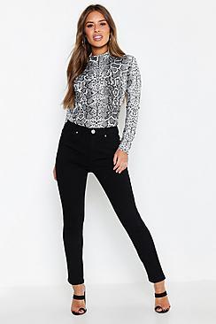 Se  Petite High Waist Skinny Jeans ved Boohoo.com