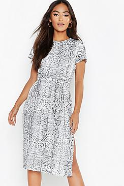 Petite Snake Print Belted Midi Dress