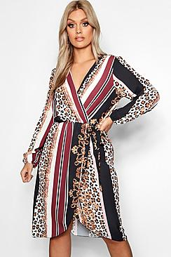 Plus Chain Mixed Print Wrap Midi Dress