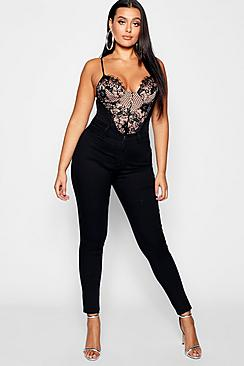 Se  Plus Super High Waisted Power Stretch Skinny Jeans ved Boohoo.com
