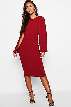 Petite Cape Sleeve Midi Dress