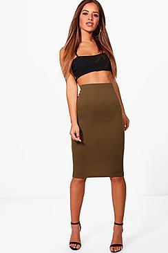 Se  Petite Basic Ponte Bodycon Midi Skirt ved Boohoo.com