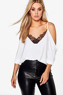 Plus  Lace Trim V Neck Cold Shoulder Top