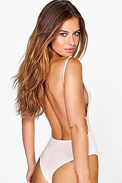 Petite Backless Strappy Thong Bodysuit