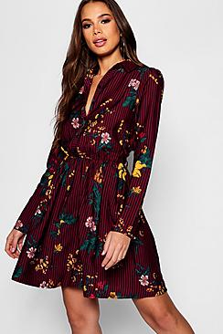 Tall Stripe Floral Shirt Dress