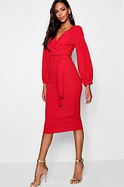 Tall  Off The Shoulder Wrap Midi Bodycon Dress