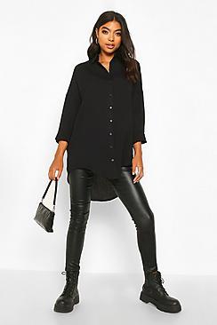 Se  Tall Linen Look Oversized Shirt ved Boohoo.com