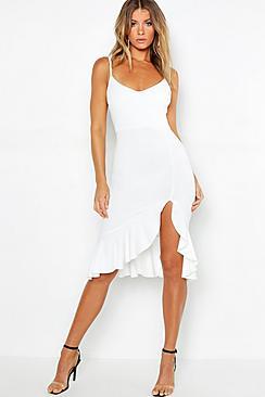 Strappy Frill Hem Midi Dress