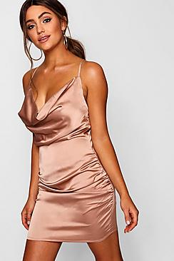 Se  Florence Satin Cowl Neck Bodycon Dress ved Boohoo.com