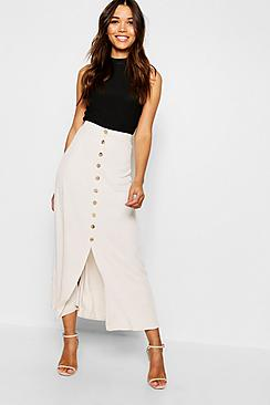 Mock Horn Button Through Midi Skirt