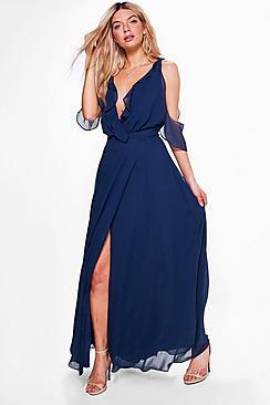 Chiffon Frill Wrap Maxi Bridesmaid Dress