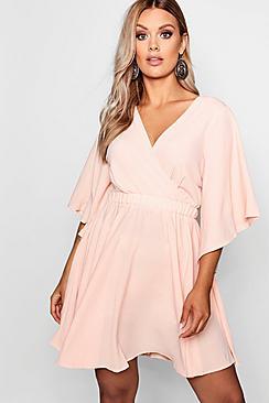 Plus Kimono Sleeve Woven Skater Dress