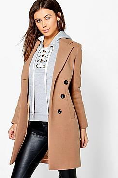 Petite Double Breasted Camel Duster Coat