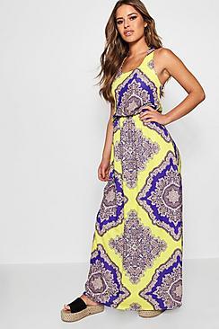 Petite Neon Paisley Maxi Dress