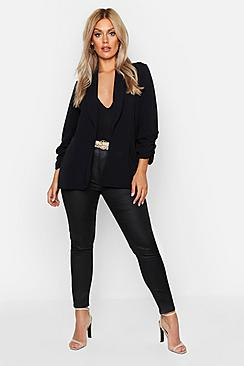 boohoo Plus Lapel Detail Ruched Sleeve Blazer