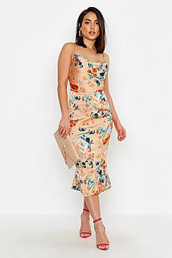 Satin Floral Cowl Flute Hem Slip Dress