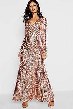 Boutique Sequin Long Sleeve Maxi Bridesmaid Dress