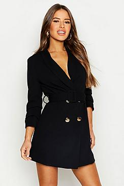 Se  Petite Self Belt Button Blazer Dress ved Boohoo.com