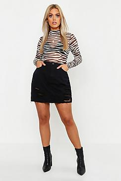 Plus Western Distressed Denim Skirt