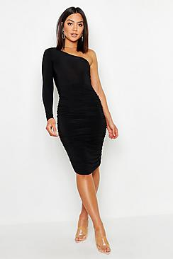 One Shoulder Double Layer Slinky Midi Dress