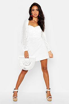 Broderie Anglais Sweetheart Mini Dress