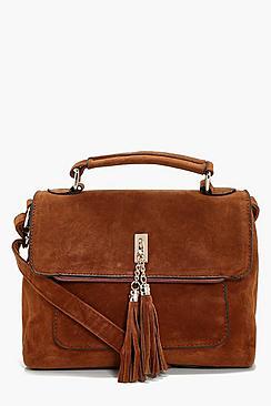 Suedette Tassel Cross Body Bag
